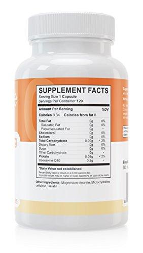 Coenzym Q10 Kapseln - 120 Stück je 200 mg - hochdosiert - Made in Germany - Energie, Ausdauer & junge, gesunde Haut - unterstützt Herz-Kreislaufsystem, Nerven & Immunsystem - 3
