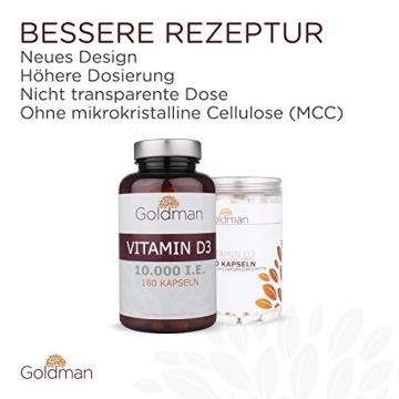 Goldman Vitamin D3 • 180 Kapseln hochdosiert mit 10.000IE • Vegan, laktosefrei, glutenfrei, zuckerfrei • Keine Magnesiumsalze • Sonnenvitamin • Made in Germany - 2