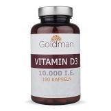 Goldman Vitamin D3 • 180 Kapseln hochdosiert mit 10.000IE • Vegan, laktosefrei, glutenfrei, zuckerfrei • Keine Magnesiumsalze • Sonnenvitamin • Made in Germany - 1