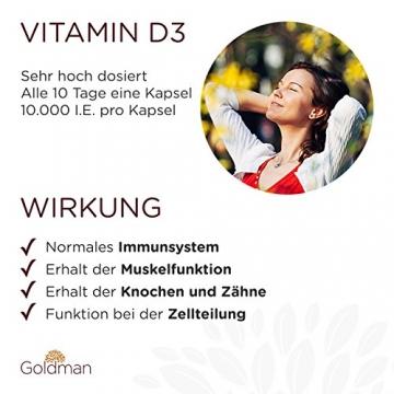 Goldman Vitamin D3 • 180 Kapseln hochdosiert mit 10.000IE • Vegan, laktosefrei, glutenfrei, zuckerfrei • Keine Magnesiumsalze • Sonnenvitamin • Made in Germany - 3