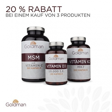 Goldman Vitamin D3 • 180 Kapseln hochdosiert mit 10.000IE • Vegan, laktosefrei, glutenfrei, zuckerfrei • Keine Magnesiumsalze • Sonnenvitamin • Made in Germany - 5