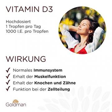 Goldman Vitamin D3 Flüssig • 50ml = 1850 Tropfen • 1 Tropfen = 25µg (1000 I.E.) • In MCT Öl gelöst • Vitamin D3 hochdosiert • Vegan, laktosefrei, glutenfrei • Made in Germany - 2