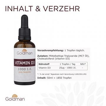 Goldman Vitamin D3 Flüssig • 50ml = 1850 Tropfen • 1 Tropfen = 25µg (1000 I.E.) • In MCT Öl gelöst • Vitamin D3 hochdosiert • Vegan, laktosefrei, glutenfrei • Made in Germany - 3