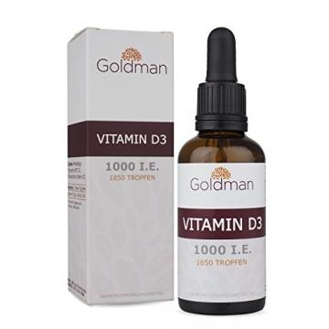Goldman Vitamin D3 Flüssig • 50ml = 1850 Tropfen • 1 Tropfen = 25µg (1000 I.E.) • In MCT Öl gelöst • Vitamin D3 hochdosiert • Vegan, laktosefrei, glutenfrei • Made in Germany - 1