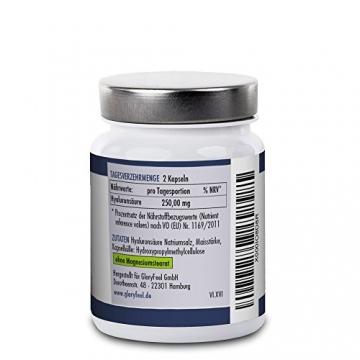Hyaluronsäure Kapseln Hochdosiert - 250mg Reine Hyaluronsaeure pro Tagesdosis - 60 Vegane Kapseln - Deutsche Nahrungsergänzung von GloryFeel - 2