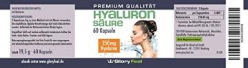 Hyaluronsäure Kapseln Hochdosiert - 250mg Reine Hyaluronsaeure pro Tagesdosis - 60 Vegane Kapseln - Deutsche Nahrungsergänzung von GloryFeel - 3