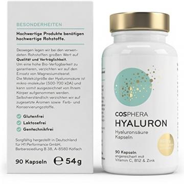 Hyaluronsäure Kapseln - Hochdosiert mit 350 mg pro Kapsel. 90 vegane Kapseln im 3 Monatsvorrat - 500-700 kDa - Angereichert mit Vitamin C, B12 und Zink - Für Haut, Anti-Aging und Gelenke - Cosphera - 2