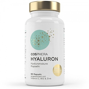 Hyaluronsäure Kapseln - Hochdosiert mit 350 mg pro Kapsel. 90 vegane Kapseln im 3 Monatsvorrat - 500-700 kDa - Angereichert mit Vitamin C, B12 und Zink - Für Haut, Anti-Aging und Gelenke - Cosphera - 3