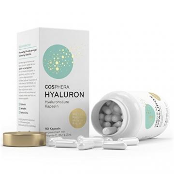 Hyaluronsäure Kapseln - Hochdosiert mit 350 mg pro Kapsel. 90 vegane Kapseln im 3 Monatsvorrat - 500-700 kDa - Angereichert mit Vitamin C, B12 und Zink - Für Haut, Anti-Aging und Gelenke - Cosphera - 4