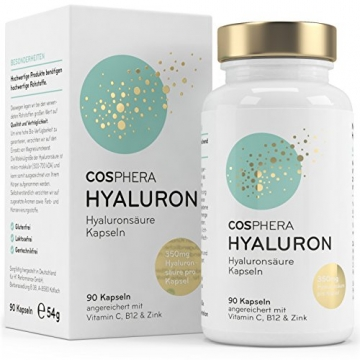Hyaluronsäure Kapseln - Hochdosiert mit 350 mg pro Kapsel. 90 vegane Kapseln im 3 Monatsvorrat - 500-700 kDa - Angereichert mit Vitamin C, B12 und Zink - Für Haut, Anti-Aging und Gelenke - Cosphera - 1