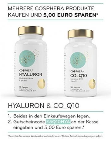 Hyaluronsäure Kapseln - Hochdosiert mit 350 mg pro Kapsel. 90 vegane Kapseln im 3 Monatsvorrat - 500-700 kDa - Angereichert mit Vitamin C, B12 und Zink - Für Haut, Anti-Aging und Gelenke - Cosphera - 6