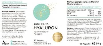 Hyaluronsäure Kapseln - Hochdosiert mit 350 mg pro Kapsel. 90 vegane Kapseln im 3 Monatsvorrat - 500-700 kDa - Angereichert mit Vitamin C, B12 und Zink - Für Haut, Anti-Aging und Gelenke - Cosphera - 7
