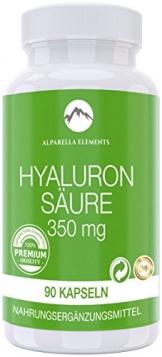 Hyaluronsäure Kapseln hochdosiert von Alparella Elements - 90 Kapseln, hochdosiert mit je 350 mg Hyaluronsäure-Pulver - Anti-Aging für Gelenke, Bänder und Haut - Made in Germany - 1