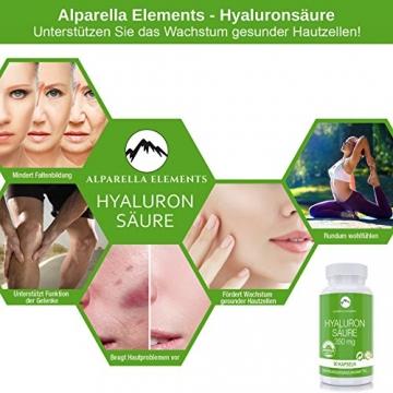 Hyaluronsäure Kapseln hochdosiert von Alparella Elements - 90 Kapseln, hochdosiert mit je 350 mg Hyaluronsäure-Pulver - Anti-Aging für Gelenke, Bänder und Haut - Made in Germany - 4