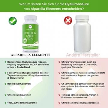 Hyaluronsäure Kapseln hochdosiert von Alparella Elements - 90 Kapseln, hochdosiert mit je 350 mg Hyaluronsäure-Pulver - Anti-Aging für Gelenke, Bänder und Haut - Made in Germany - 5