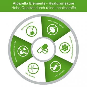 Hyaluronsäure Kapseln hochdosiert von Alparella Elements - 90 Kapseln, hochdosiert mit je 350 mg Hyaluronsäure-Pulver - Anti-Aging für Gelenke, Bänder und Haut - Made in Germany - 6