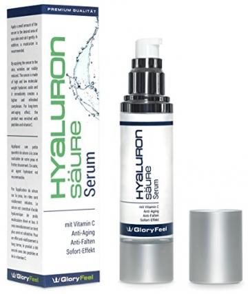 Hyaluronsäure Serum Konzentrat - Hochdosiertes Hyaluron Anti Aging Gel + Vitamin C - Liftingserum Für Gesicht, Hals und Dekolleté - 50ml - Feuchtigkeitsspendende Anti-Falten Creme von GloryFeel - 2
