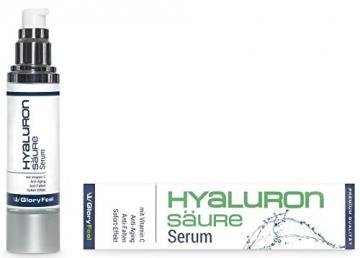 Hyaluronsäure Serum Konzentrat - Hochdosiertes Hyaluron Anti Aging Gel + Vitamin C - Liftingserum Für Gesicht, Hals und Dekolleté - 50ml - Feuchtigkeitsspendende Anti-Falten Creme von GloryFeel - 3