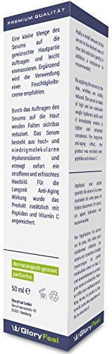 Hyaluronsäure Serum Konzentrat - Hochdosiertes Hyaluron Anti Aging Gel + Vitamin C - Liftingserum Für Gesicht, Hals und Dekolleté - 50ml - Feuchtigkeitsspendende Anti-Falten Creme von GloryFeel - 5