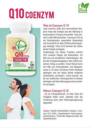 MeinVita Q10 Coenzym - 200 mg - hochdosiert - 100% vegane Kapseln, 120 Stück, Made in Germany, unterstützt Herz-Kreislaufsystem, Nerven- & Immunsystem - 2
