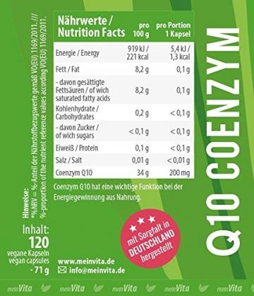 MeinVita Q10 Coenzym - 200 mg - hochdosiert - 100% vegane Kapseln, 120 Stück, Made in Germany, unterstützt Herz-Kreislaufsystem, Nerven- & Immunsystem - 3