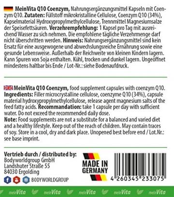 MeinVita Q10 Coenzym - 200 mg - hochdosiert - 100% vegane Kapseln, 120 Stück, Made in Germany, unterstützt Herz-Kreislaufsystem, Nerven- & Immunsystem - 4