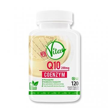 MeinVita Q10 Coenzym - 200 mg - hochdosiert - 100% vegane Kapseln, 120 Stück, Made in Germany, unterstützt Herz-Kreislaufsystem, Nerven- & Immunsystem - 1