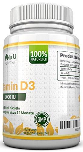 Vitamin D3 1000 IU hochdosiert - für Knochen, Zähne & Immunsystem - Jahresversorgung - 100 % Geld-zurück-Garantie - 365 Softgel-Kapseln - Nahrungsergänzungsmittel von Nu U Nutrition - 2