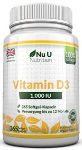 Vitamin D3 1000 IU hochdosiert - für Knochen, Zähne & Immunsystem - Jahresversorgung - 100 % Geld-zurück-Garantie - 365 Softgel-Kapseln - Nahrungsergänzungsmittel von Nu U Nutrition - 1
