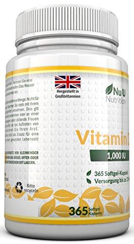 Vitamin D3 1000 IU hochdosiert - für Knochen, Zähne & Immunsystem - Jahresversorgung - 100 % Geld-zurück-Garantie - 365 Softgel-Kapseln - Nahrungsergänzungsmittel von Nu U Nutrition - 5