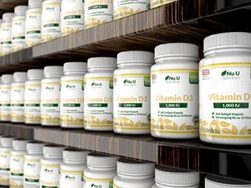 Vitamin D3 1000 IU hochdosiert - für Knochen, Zähne & Immunsystem - Jahresversorgung - 100 % Geld-zurück-Garantie - 365 Softgel-Kapseln - Nahrungsergänzungsmittel von Nu U Nutrition - 6