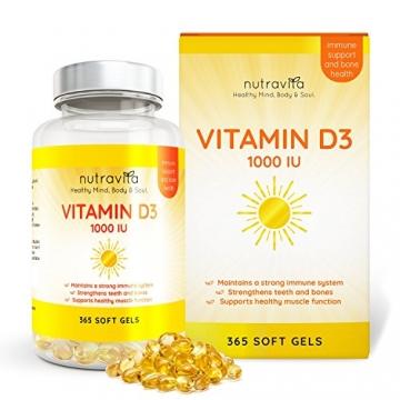 Vitamin D3 1000IU von Nutravita | Hochdosiert | 365 Softgel-Kapseln (Jahresversorgung) | Frei von Zusatzstoffen - 2