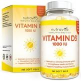 Vitamin D3 1000IU von Nutravita | Hochdosiert | 365 Softgel-Kapseln (Jahresversorgung) | Frei von Zusatzstoffen - 1