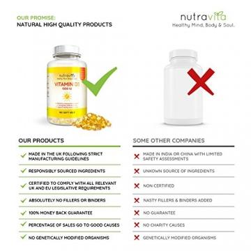 Vitamin D3 1000IU von Nutravita | Hochdosiert | 365 Softgel-Kapseln (Jahresversorgung) | Frei von Zusatzstoffen - 4