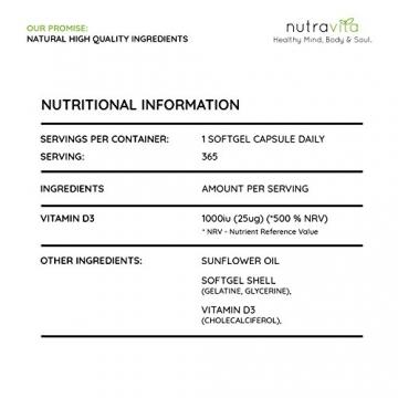 Vitamin D3 1000IU von Nutravita | Hochdosiert | 365 Softgel-Kapseln (Jahresversorgung) | Frei von Zusatzstoffen - 6