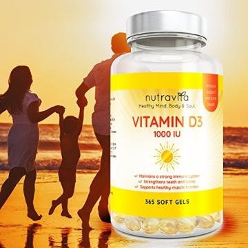 Vitamin D3 1000IU von Nutravita | Hochdosiert | 365 Softgel-Kapseln (Jahresversorgung) | Frei von Zusatzstoffen - 7