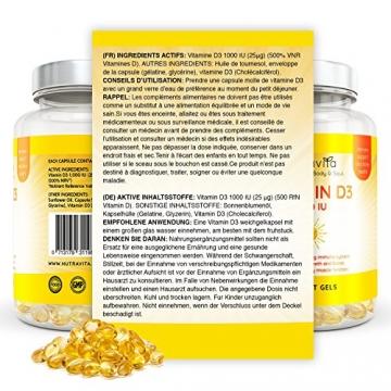 Vitamin D3 1000IU von Nutravita | Hochdosiert | 365 Softgel-Kapseln (Jahresversorgung) | Frei von Zusatzstoffen - 8