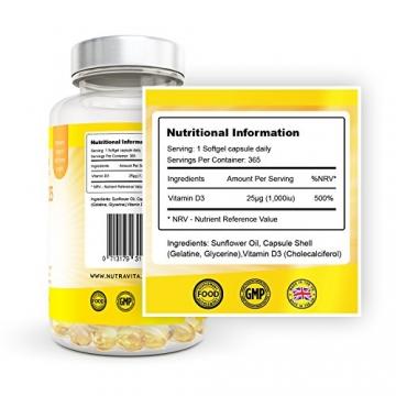 Vitamin D3 1000IU von Nutravita | Hochdosiert | 365 Softgel-Kapseln (Jahresversorgung) | Frei von Zusatzstoffen - 9