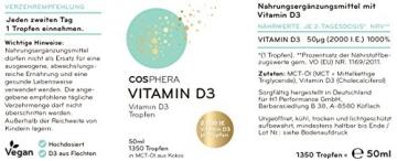 Vitamin D3 - Hochdosiert mit 2000 I.E (50 µg) pro Tropfen. 100% pflanzlich, natürlich und vegan. 50 ml, 1350 Tropfen. Hoch bioverfügbares Vitamin D (Cholecalciferol) aus Flechten gelöst in MCT Öl - 4
