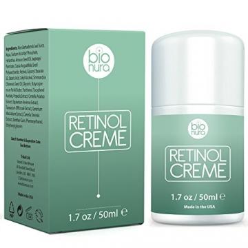 Bionura Retinol Feuchtigkeitscreme Creme mit 2,5% Retinol, 15% Vitamin C & 5% Hyaluronsäure - Der effektivste Natürliche Anti Aging & Anti Falten Retinol Feuchtigkeitsbehandlung ohne die irritierenden Nebenwirkungen. 50 ml - 2
