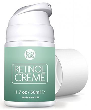 Bionura Retinol Feuchtigkeitscreme Creme mit 2,5% Retinol, 15% Vitamin C & 5% Hyaluronsäure - Der effektivste Natürliche Anti Aging & Anti Falten Retinol Feuchtigkeitsbehandlung ohne die irritierenden Nebenwirkungen. 50 ml - 5