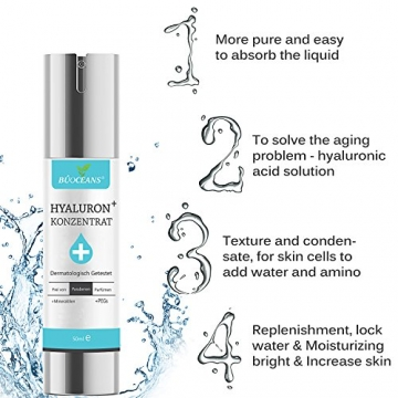 Hyaluronsäure Serum,Gesichts Serum mit Bio Inhaltsstoffen,Anti-Aging Gesichtspflege, gegen Gesichtfalten, Krähenfüße, Lachfalten, Linien und alle Alterserscheinungen werden drastisch reduzier der Haut - 4