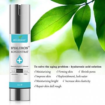 Hyaluronsäure Serum,Gesichts Serum mit Bio Inhaltsstoffen,Anti-Aging Gesichtspflege, gegen Gesichtfalten, Krähenfüße, Lachfalten, Linien und alle Alterserscheinungen werden drastisch reduzier der Haut - 9